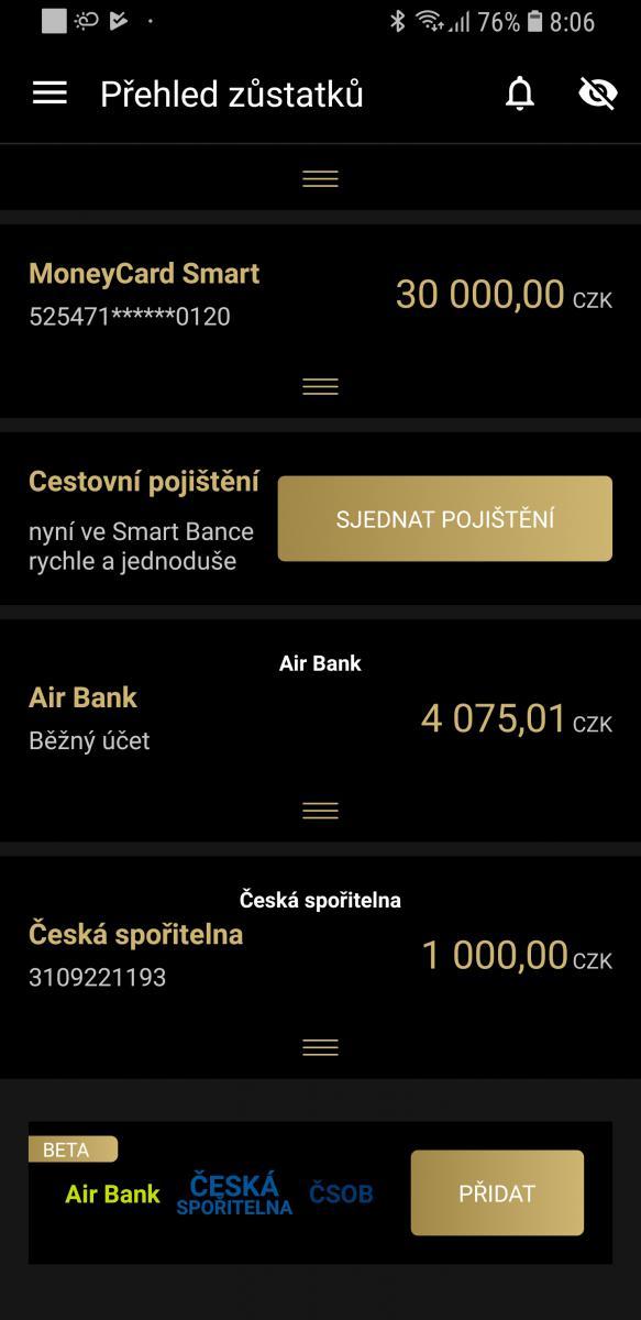 Smart Banka_multibanking OLED cerna a zlata